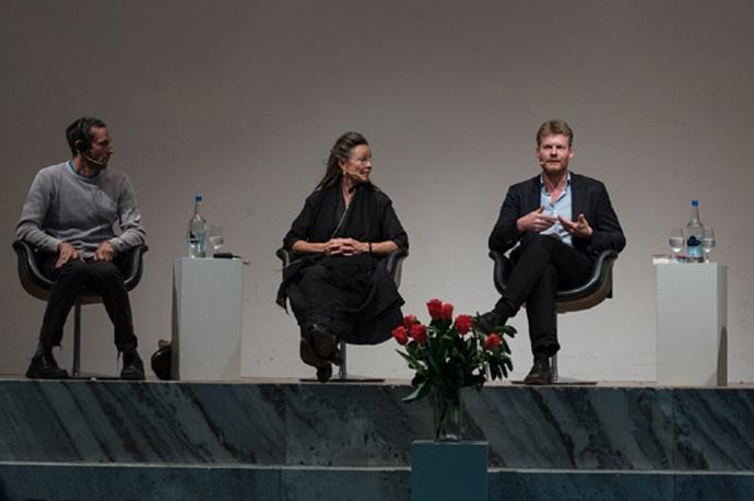 v.l. Charles Eisenstein, Annette Kaiser, Christian Felber - Foto Raphi See