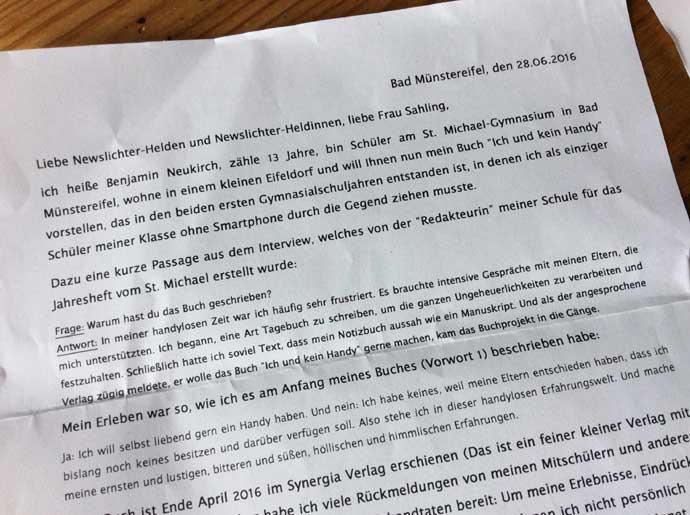 Brief von Benjamin an die newslichter